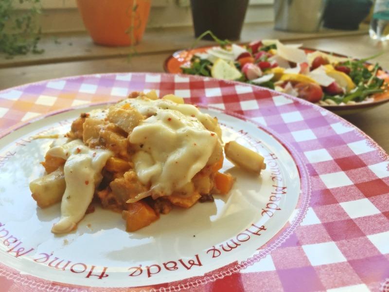 Topinambur-Pfanne mit Mozzarella